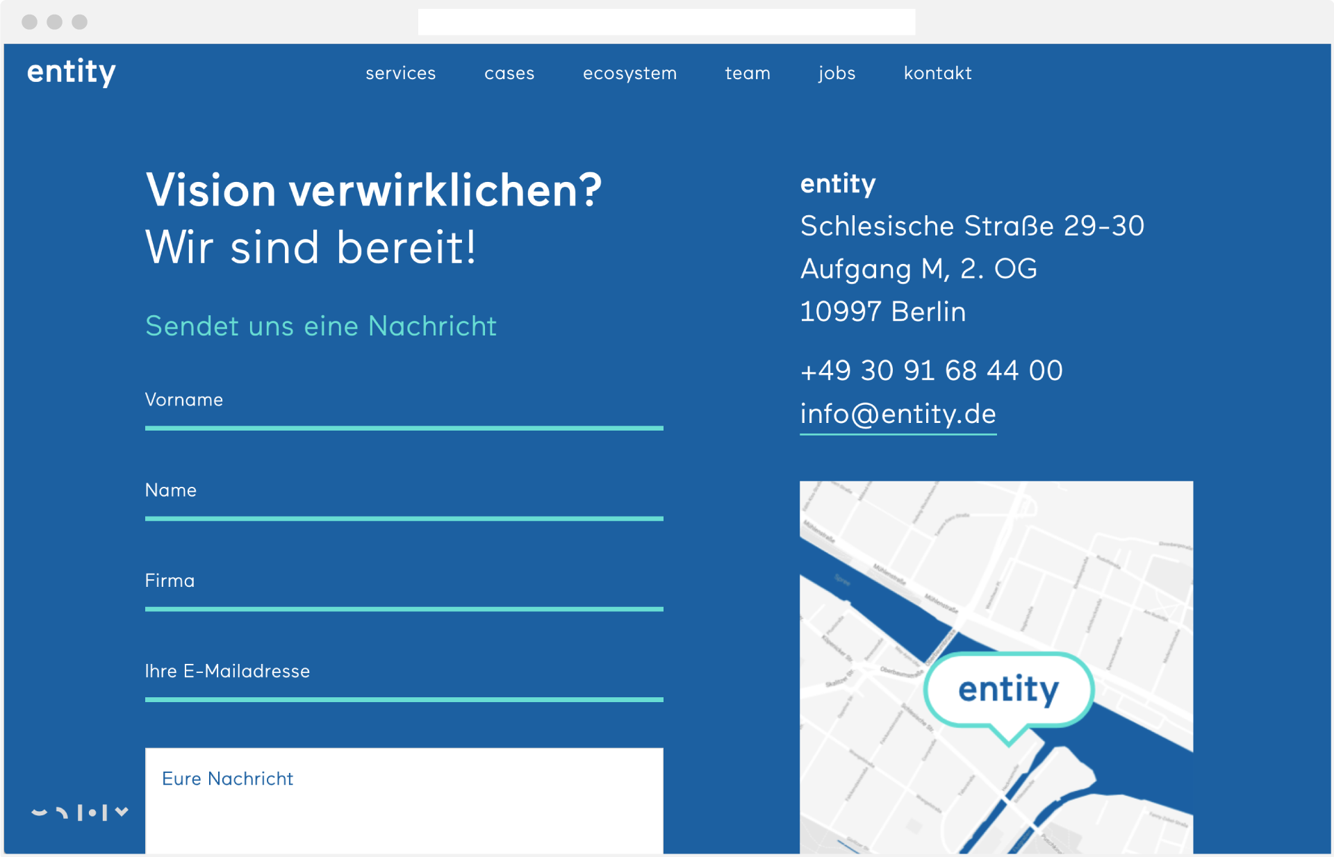 Webdesign entity kontakt