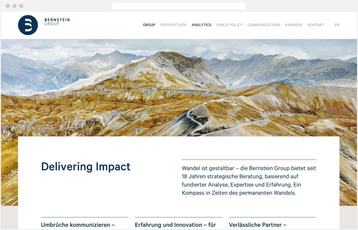 Webdesign für die Bernstein Group