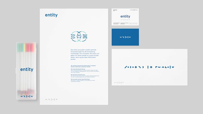 Geschäftsausstattung Briefpapier, Visitenkarte und Complement Card für entity