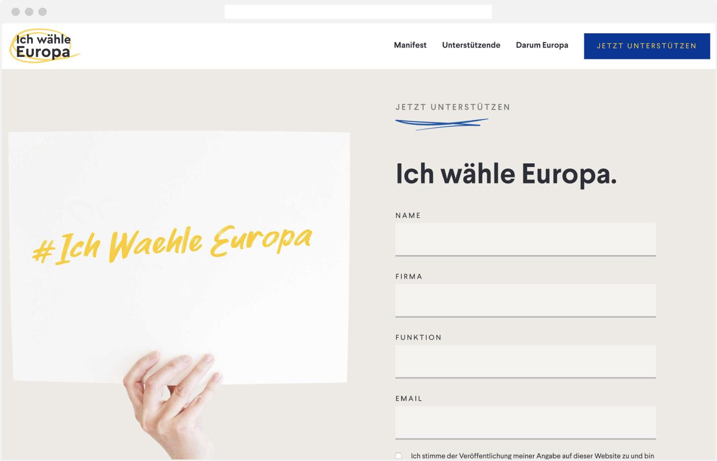 Website Ich wähle Europa – Unterstützen Formular