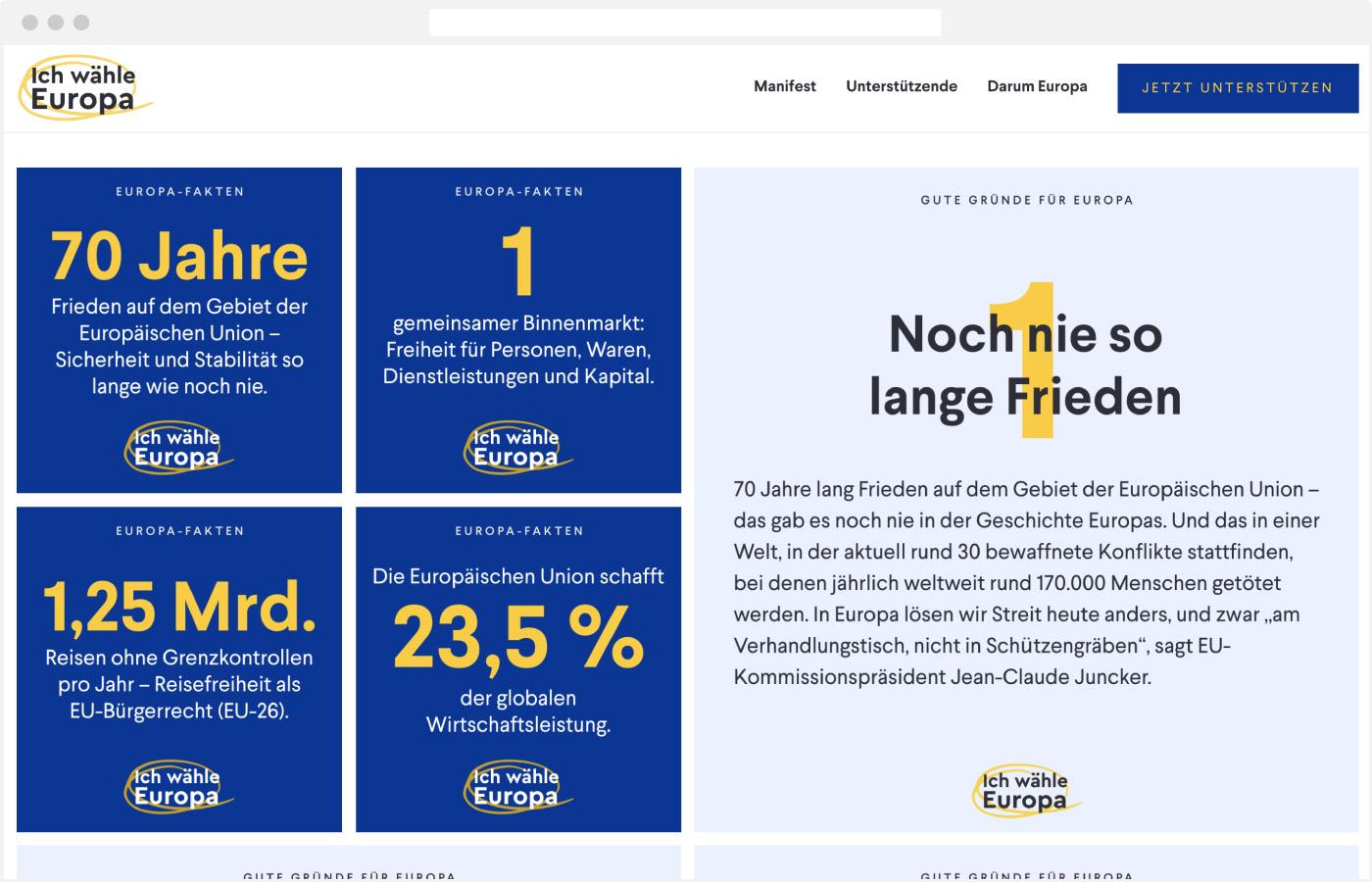 Website Ich wähle Europa – Sharing Elemente