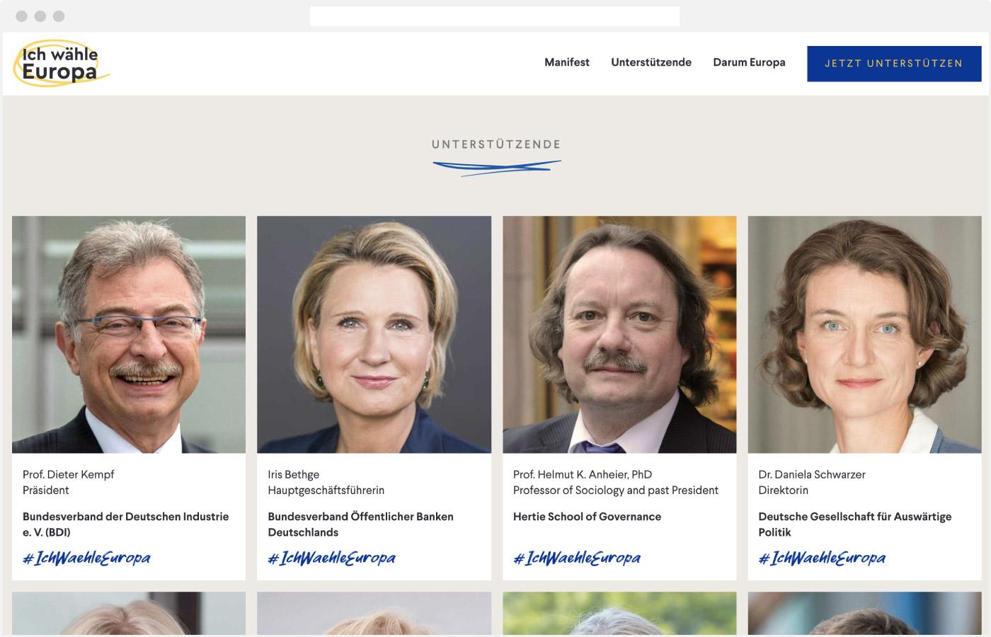 Website Ich wähle Europa – Unterstützende Überblick