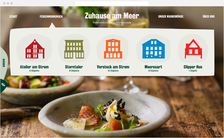 Zuhause am Meer Webdesign – Navigation