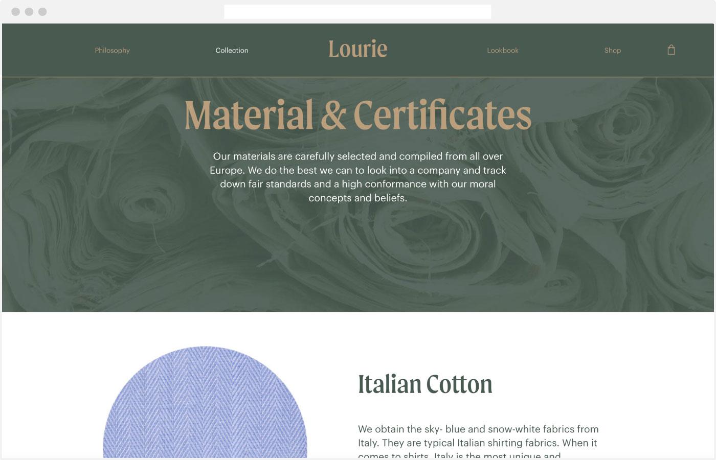 Lourie Webdesign Material Seite