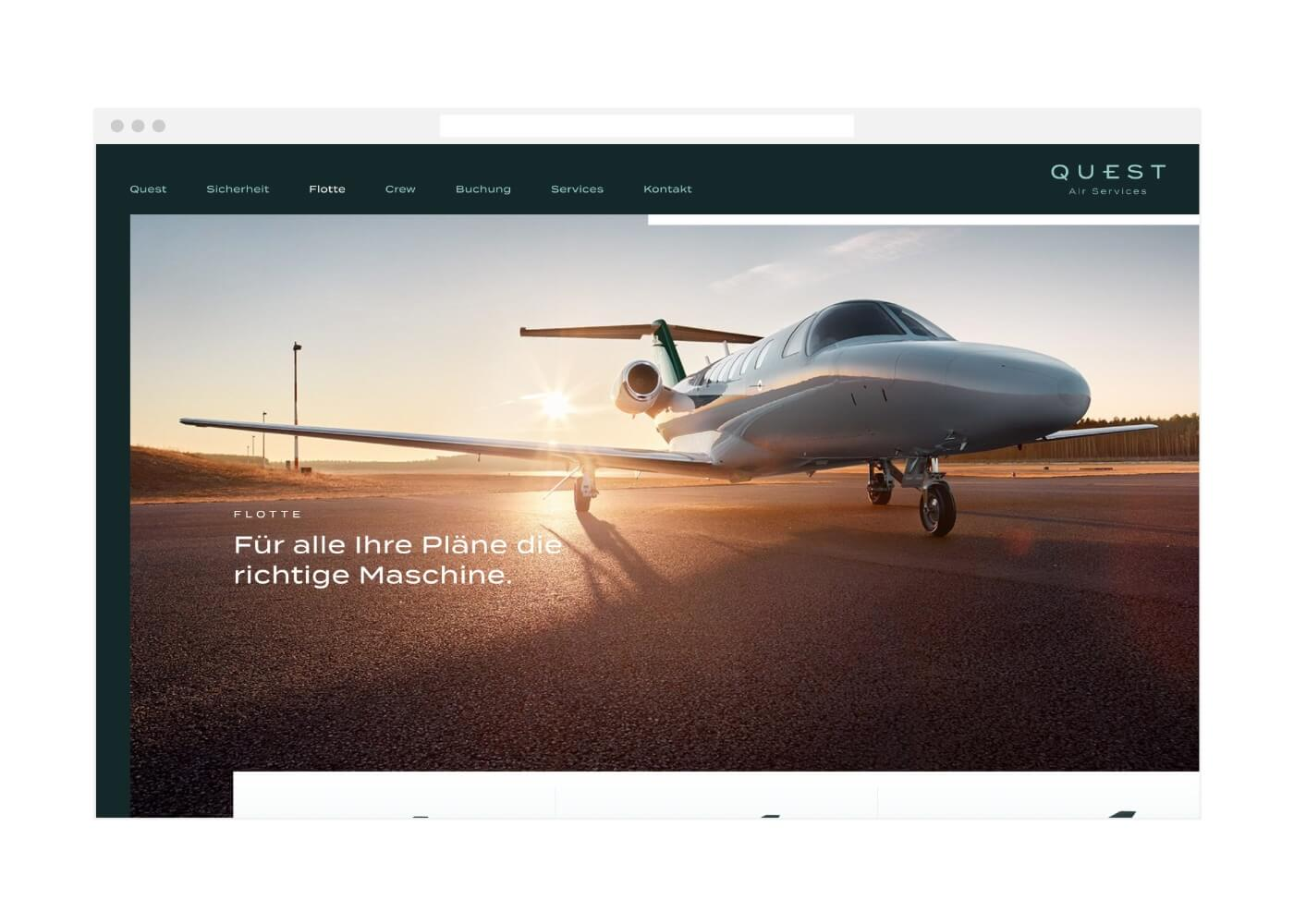 Quest Air Services Webdesign Startseite