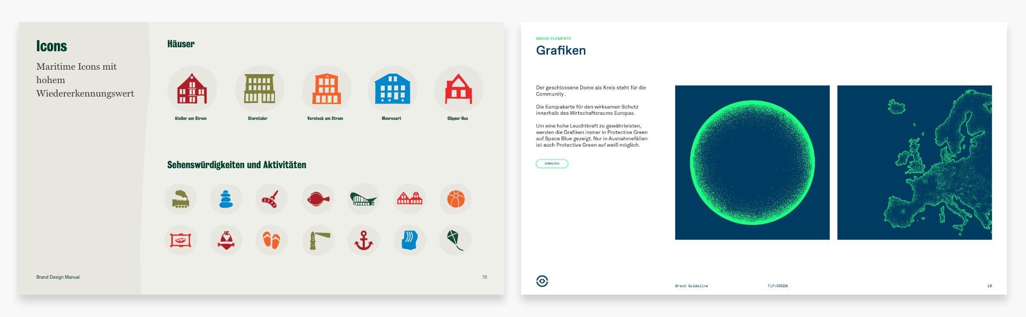 Brand Design Manual Icons und Grafiken